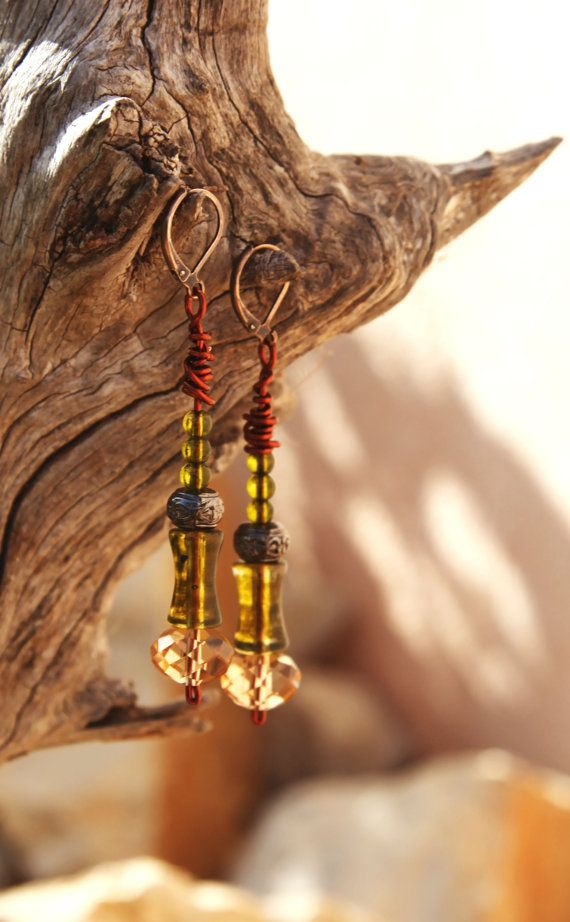 Green crystal boho copper earrings. by Copperia on Etsy