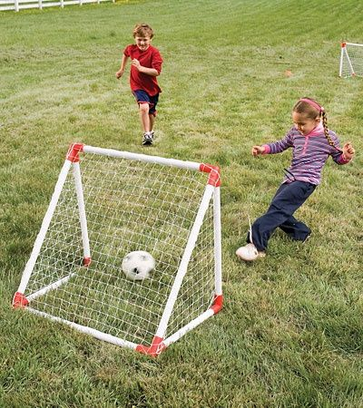 how to make a soccer net with pvc | Soccer Goal Set with High-Impact Vinyl Nets $39.98--How easy to make ...