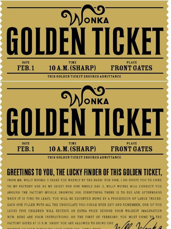 Intrepid image regarding willy wonka golden ticket printable