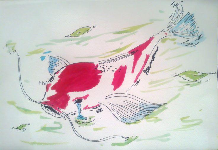 La primavera pasa; lloran las aves y son lágrimas los ojos de los peces. #ilustración #Haiku #Basho #pezkoi #tintachina #arte #desafio15dias #ElizabethIcanon