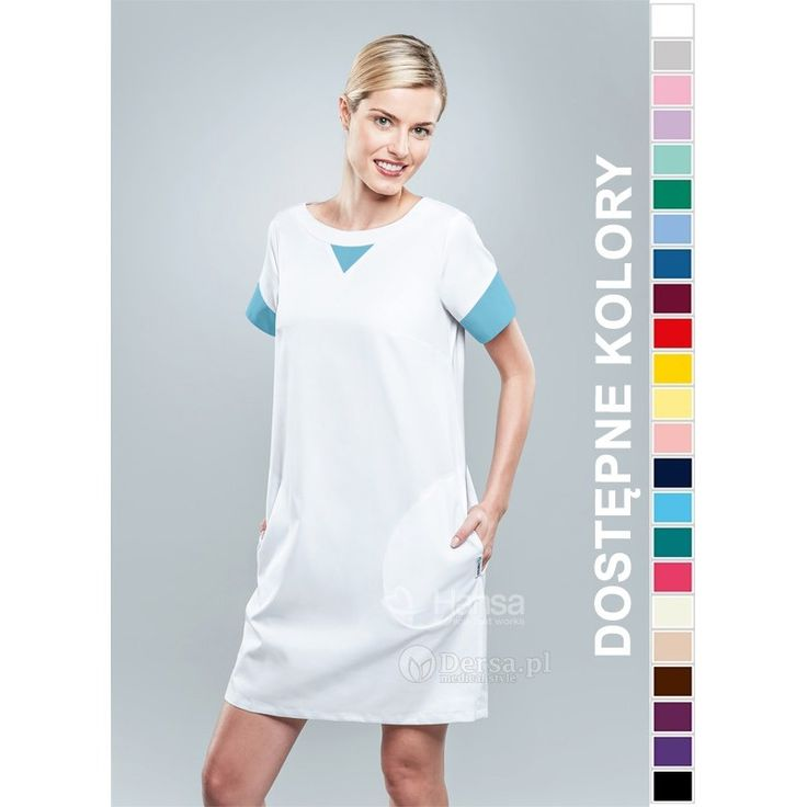 Nowość !!! Sukienka Medyczna Hansa 0211 z kolorowymi wstawkami na dekolcie i rękawach.
