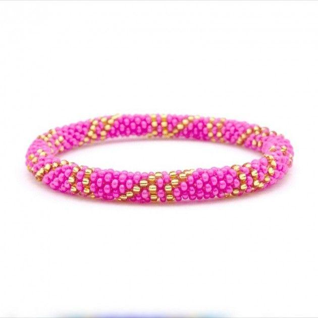 Sashka Armbånd - Rosa / Gull | Eksklusive Klær, Smykker, Vesker og Interiør Design