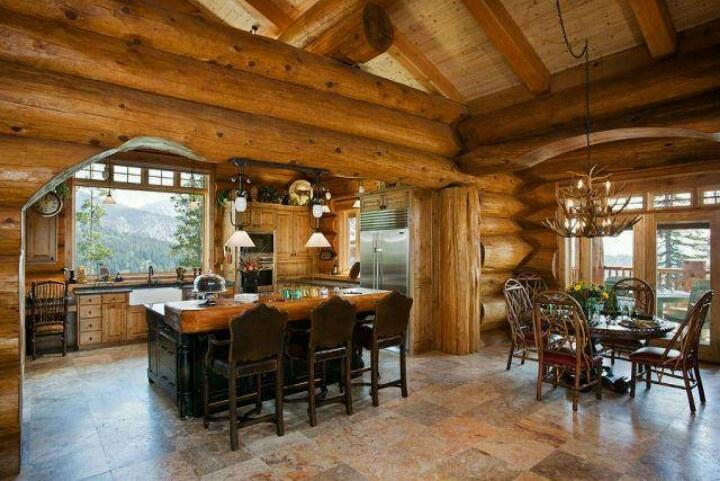 Log cabin kitchen country western pinterest for Log cabin kitchen islands