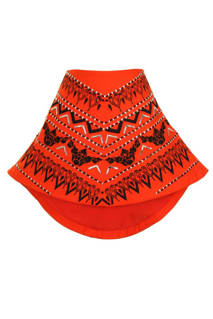 AnhHa Alexa Skater Dip Hem Orange Skirt at Coggles
