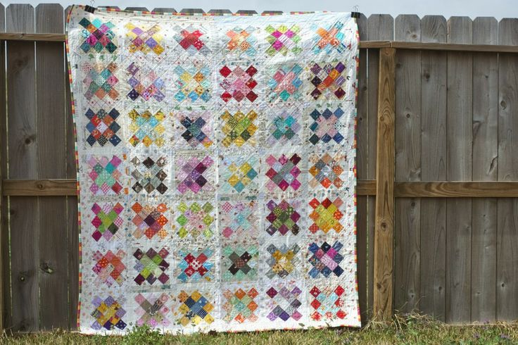 Granny Square quilt with low volume background fabrics | a quilt is nice