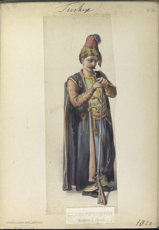Horse artilleryman. The Vinkhuijzen collection of military uniforms / Turkey, 1818. See McLean's Turkish Army of 1810-1817.