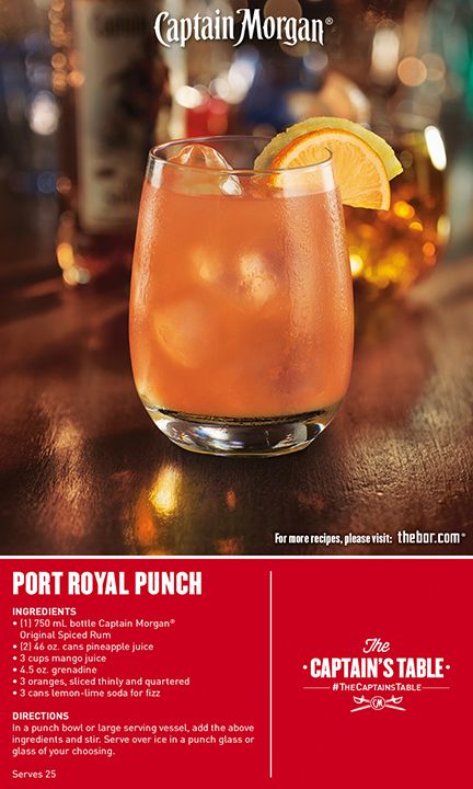 Ladle up a great time! Captain Morgan® Port Royal Punch is an easy mixed cocktail for your entire group. Loaded with delicious pineapple sweetness. #drinkrecipe #drinks #TheCaptainsTable