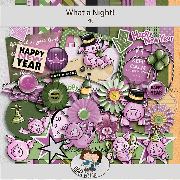What a Night! is a New Years kit with lots of fun animal elements. Enjoy the green and purple elements of pigs and stars.