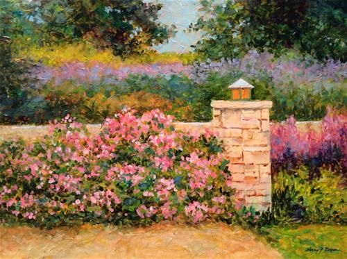 "Daily Paintworks - ""Garden Wall"" - Original Fine Art for Sale - © Nancy F. Morgan"