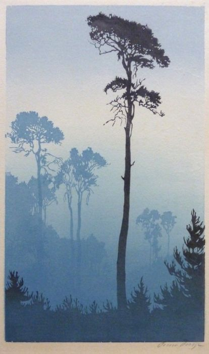 shades of trees. Oscar Droege woodcut