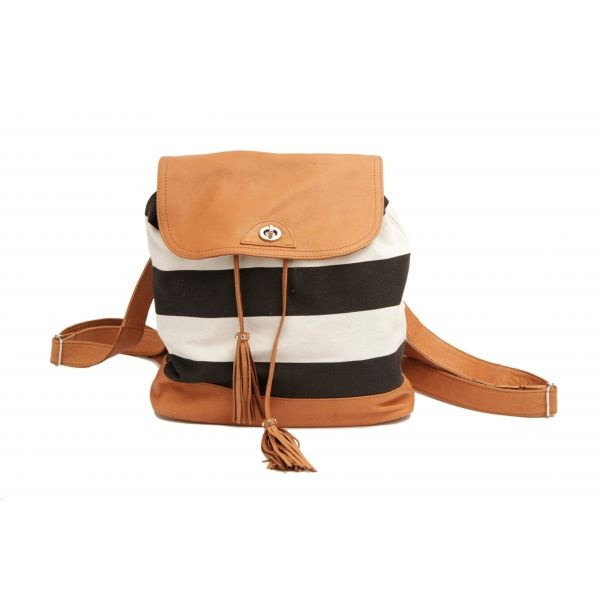 Striped leather backpack