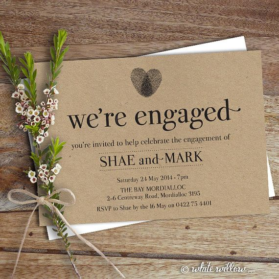 Engagement Party Invitation, Engagement Party Invite, Engagement Dinner, DIY Printable, Heart Thumbprint