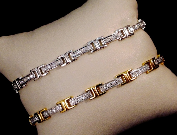 "18k white gold ""H"" bead-set diamond bracelet, two-tone gold and diamond bracelet. Dress them up or dress them down."