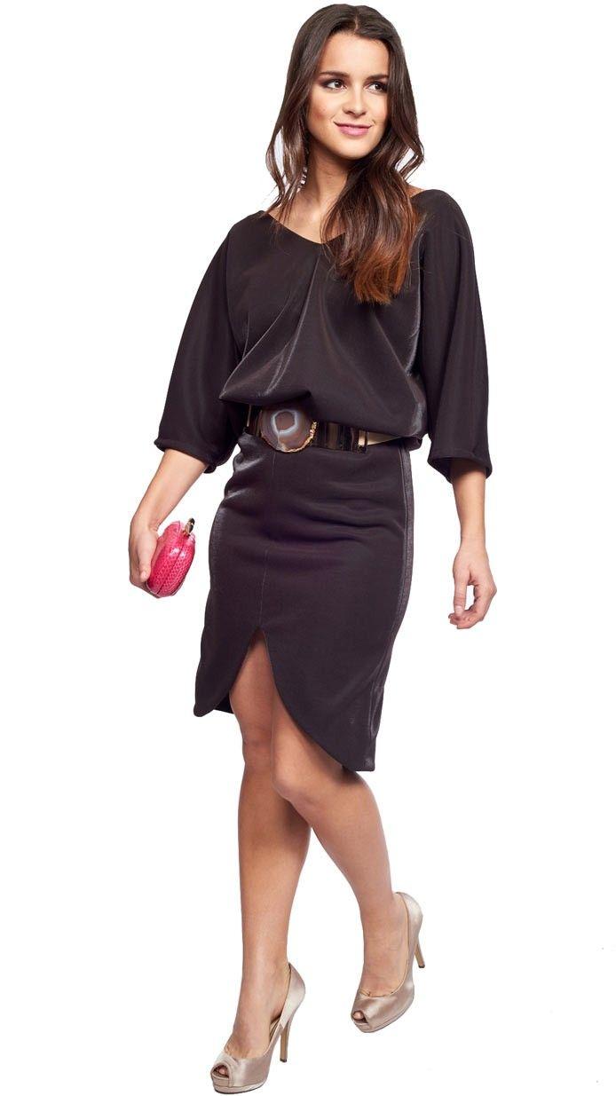 Alquila Exclusivo vestido corto con mangas y falda tulipán en marrón metalizado de Dresseos