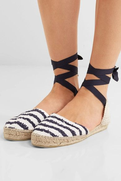 Manebi - Striped Tweed Espadrilles - Blue - IT39