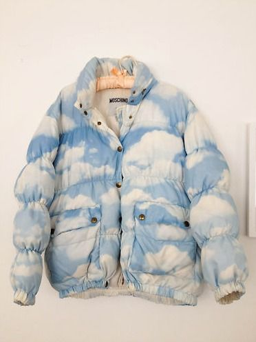 milkbbi:  designertextiles:  My Moschino jacket from 1992  yetsrday i was outside w/cali thinkin about how the sky is so pretty n never gets boring n how like ill never make anything as nice as that but wow this jacket ~~~ WOW its like sumthin i would only imagine