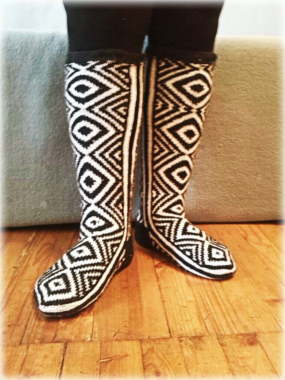 Black and White Knee high knitted socks by WarmandCozyKnits