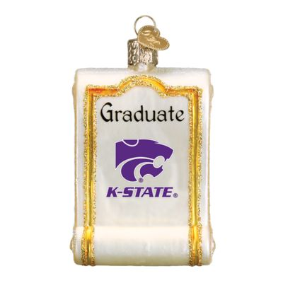 """Kansas+State+Diploma+Christmas+Ornament+61812+Merck+Family's+Old+World+Christmas+Size:+3.25""""+Introduced+2016+Material:+Mouth+blown,+hand+painted+glass+Prepackaged+Box+This+ornament+"""
