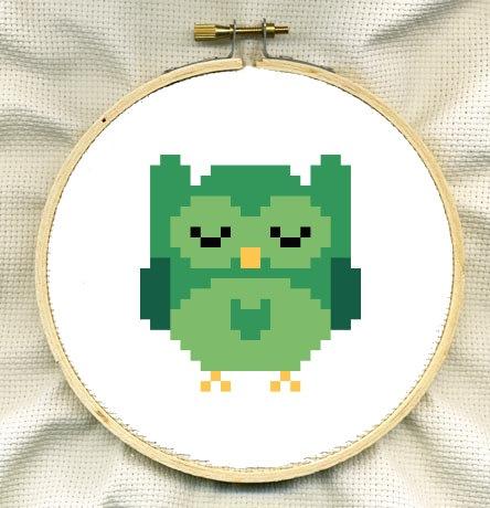 Green Sleepy Owl Cute Cross Stitch Pattern by ComaStitch on Etsy, £1.00