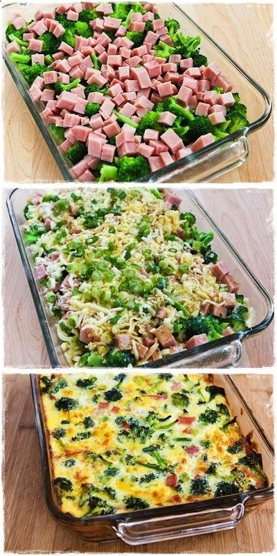 Broccoli, Ham, and Mozzarella Baked with Eggs..4-6 cups very small broccoli flowerets, blanched about 2 minutes, then drained well. 1-2 cups diced ham (1/2 – 1 lb.) 1 cup low-fat grated Mozzarella 1/3 cup thinly sliced green onion (optional, but good) 8-10 eggs, well beaten.BAKE 375,35-45 MIN.