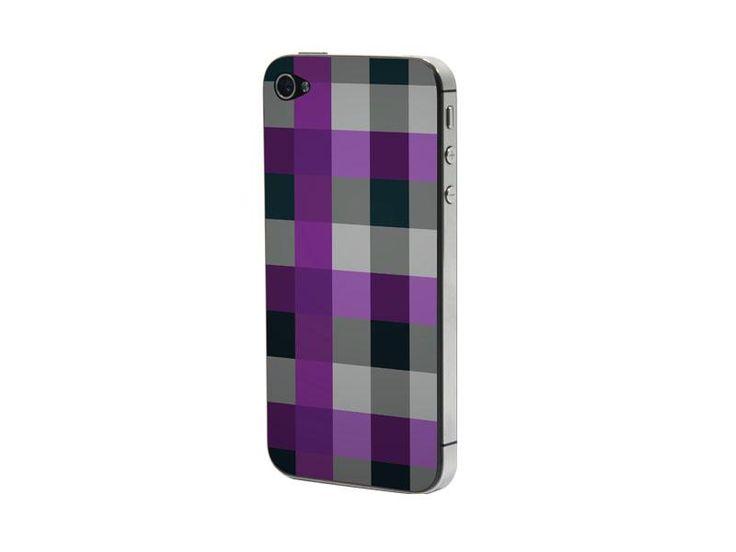 Προστατευτικό Αυτοκόλλητο για iPhone 4/4S ( black purple checker