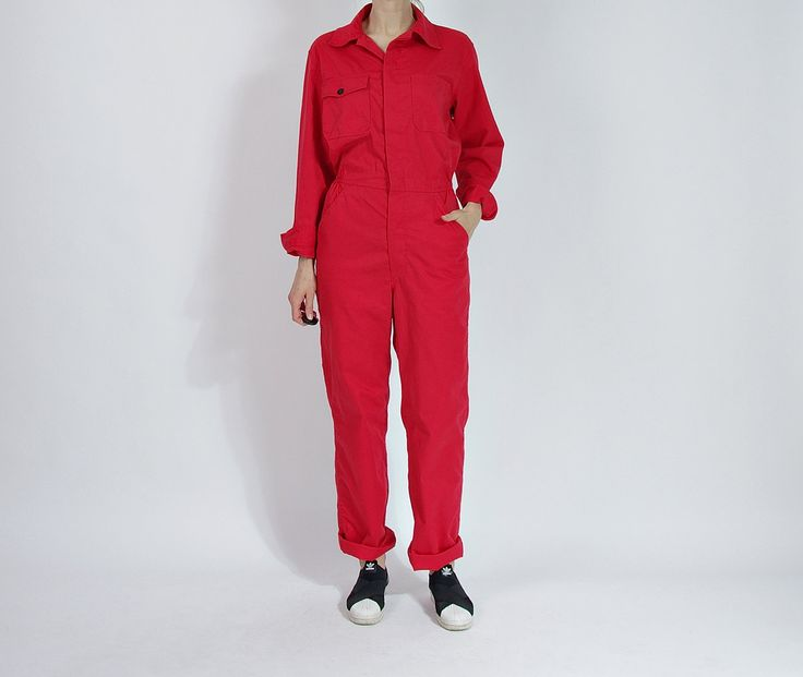 80s PELLY Red Painter Workwear Coveralls / Unisex Street Style Jumpsuit by Only1Copy on Etsy