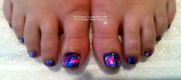 CND Shellac Toes in Rock Royalty and Multi coloured foils in pink blue and silver.  #cndhellac #nails #salcombe #nailart