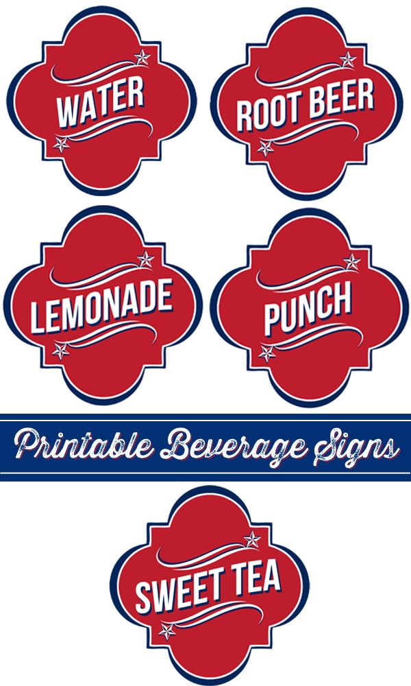 Whipperberry: 4th of July Beverage Signs + 7 More Free 4th of July Printables