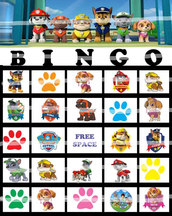 Paw Patrol Bingo Game 12 different