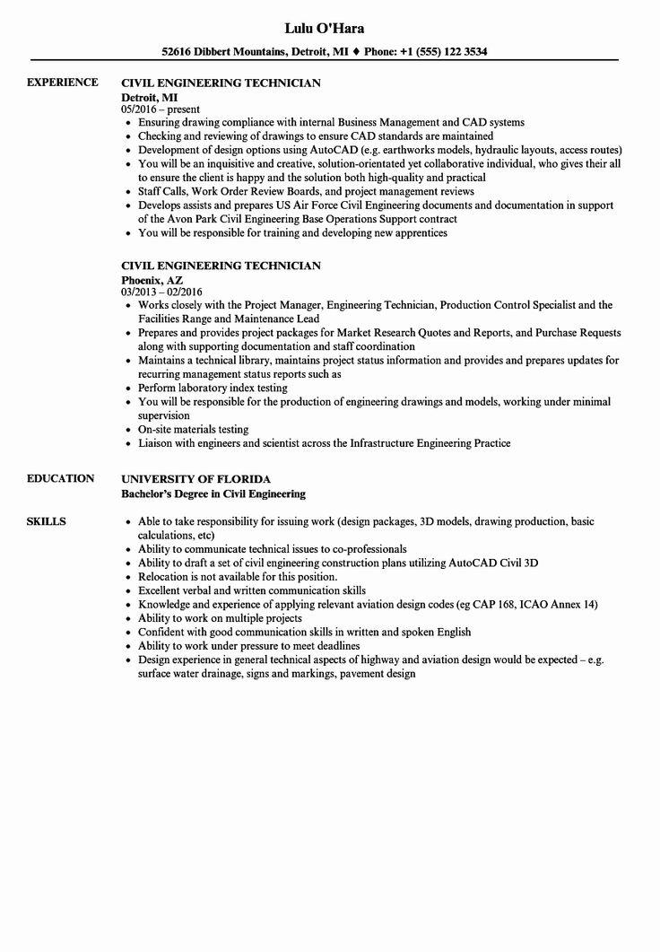 23 Civil Engineering Resume Examples in 2020 Engineering