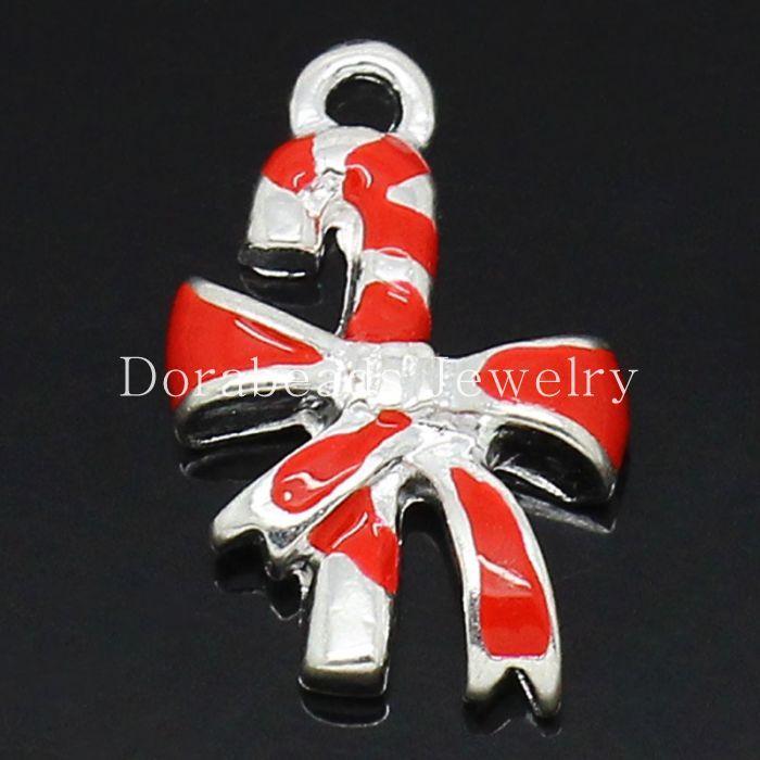 DoreenBeads Шарм Подвески Рождественские Костыли Candy Cane Посеребренная Эмаль Красный 18x12 мм, 10 Шт. (B27864), иу