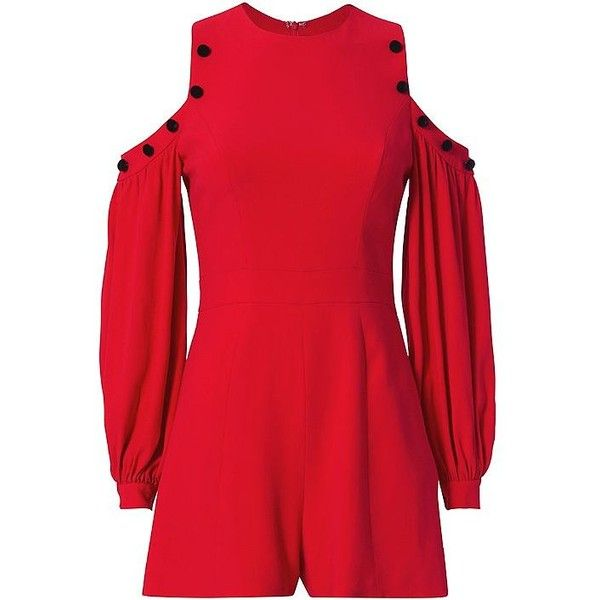 Alexis Asher Cold Shoulder Romper (746 165 LBP) ❤ liked on Polyvore featuring jumpsuits, rompers, red long sleeve romper, red rompers, long sleeve romper, long-sleeve rompers and long-sleeve romper