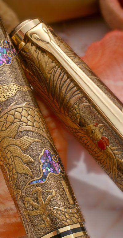 Pelikan Maki-e Sterling Silver Fountain Pen - 18k Gold Nib