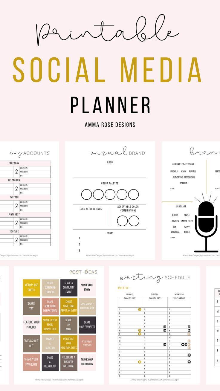 Social Media Planner Business Planner Social Media Plan Etsy Social Media Planner Social Media Planning Marketing Strategy Social Media