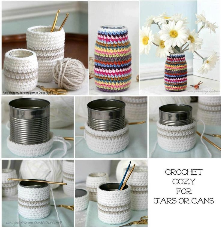 Re.use empty cans and jars jazz them up with cute crochet cozies