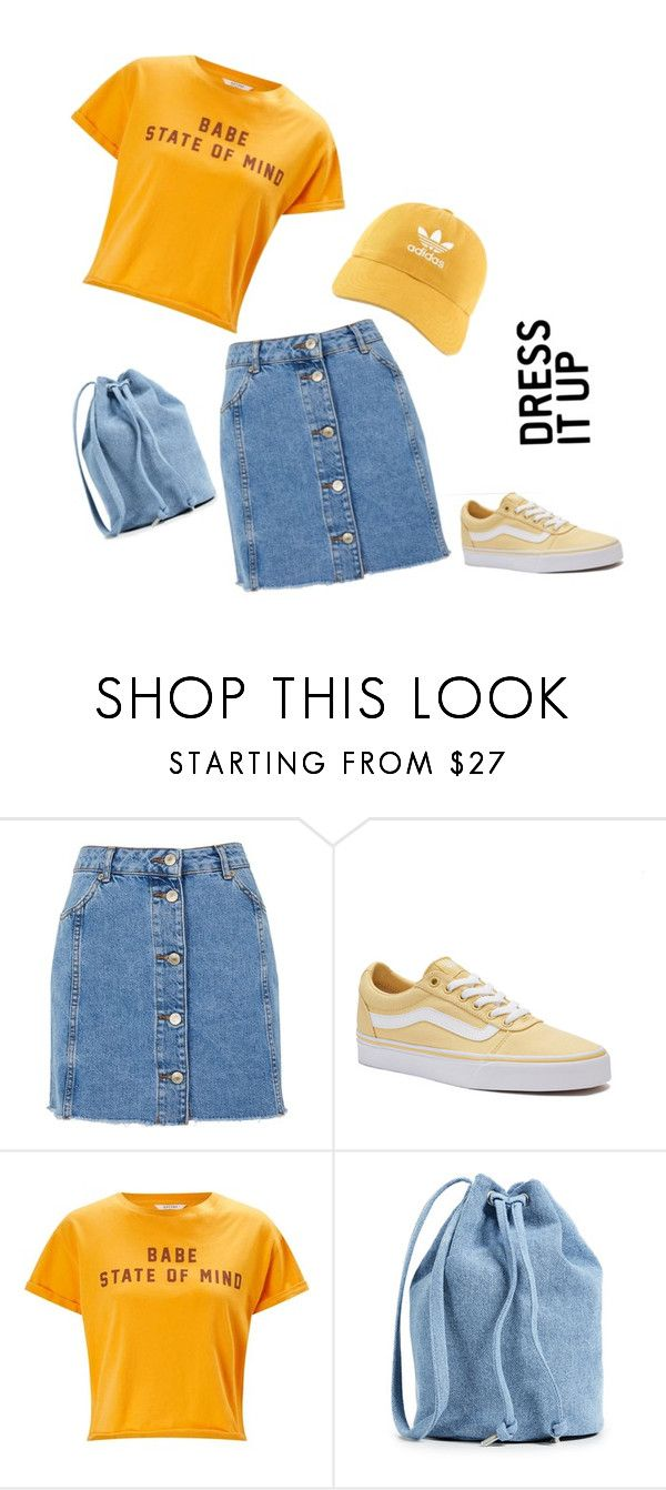 """""""Yellow"""" by anissaputrii on Polyvore featuring Topshop, Vans, Miss Selfridge, BAGGU and adidas"""