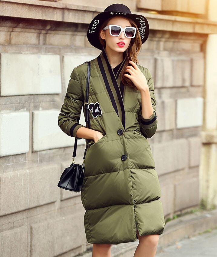 Зимняя куртка девушки длинный абзац спортивный бейсбол стиль сплошной цвет женские модели пуховик зимнее пальто Y134купить в магазине GGsDDup Clothing CO.,ltdнаAliExpress