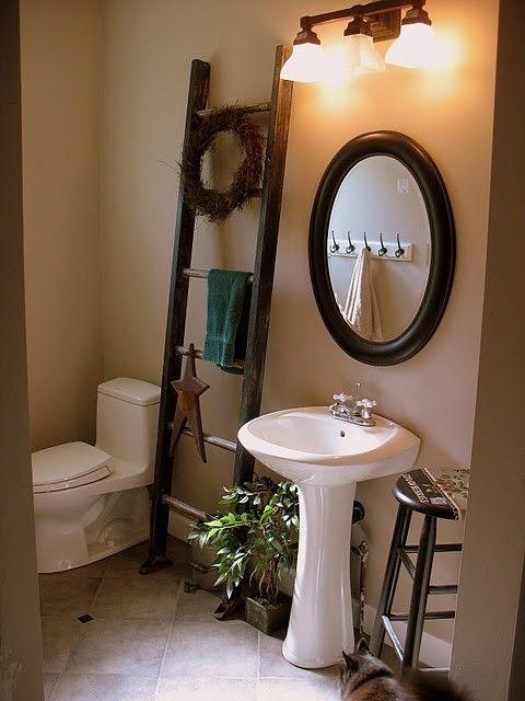 Rustic ladder instead of a towel rack rustic pinterest - Decorative ladder for bathroom ...
