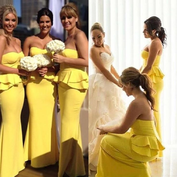 Wholesale Bridesmaid Dress - Buy 2015 Bright Yellow Bridesmaid Dresses Elegant Custom Sweetheart Strapless Long Peplum Satin Full Length Daffodil Evening Prom Party Gowns, $82.75 | DHgate.com