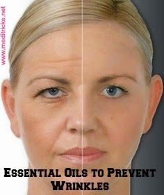 Skin Wrinkle Reducing Oil 5 drops Sandalwood 5 drops Helichrysum 5 drops Geranium 5 drops Lavender 5 drops Frankincense 1 Tbsp. Sweet Almond or Apricot Kernel carrier oil Put oils in a 1-ounce dark glass bottle. Cap the bottle and mix gently.  Apply 2-4 drops of the blend onto your fingertips, and apply to a moistened face and neck. Work upward, gently massaging the facial tissue. Avoid pulling or over-manipulating the tissue. Be gentle.