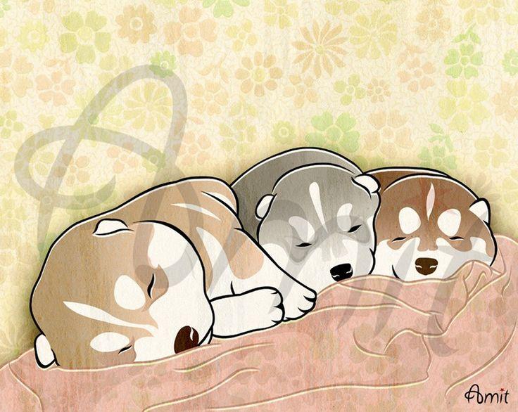 sleeping puppies by SiberianArt on Etsy https://www.etsy.com/listing/25248234/sleeping-puppies