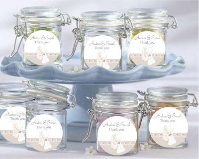Mr & Mrs Script Wedding Favour Jars (set of 12) - Customised Bomboniere - Wedding Bomboniere & Wedding Favours