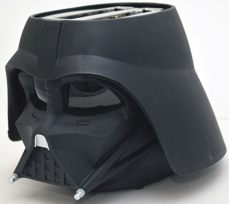 Molded in sturdy black plastic and meticulously detailed, the Darth Vader Toaster will make a striking addition to any kitchen counter. Pop in two pieces of bread, frozen pancakes, hamburger buns or English muffins, and in moments Vader ejects them with the Star Wars logo toasted right on them. | eBay!