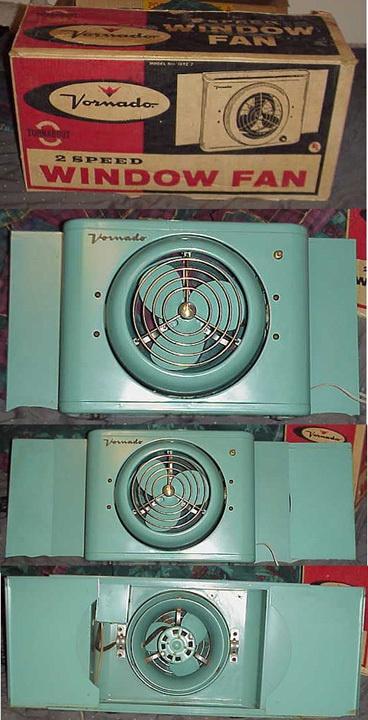 Turquoise Vornado window fan model 16T2-2 in original box |