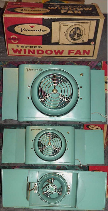 Turquoise Vornado window fan model 16T2-2 in original box |