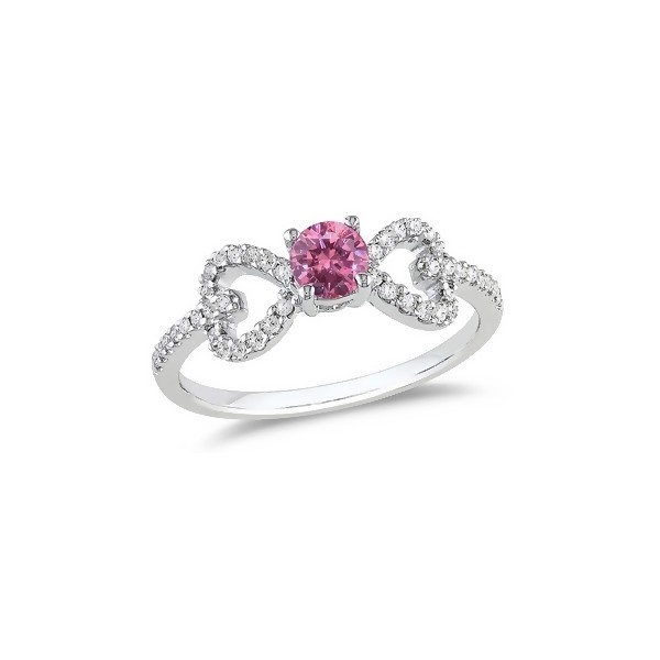 Ice 1/2 Carat Pink and White Diamond 14K White Gold Bow Engagement... ($675) ❤ liked on Polyvore