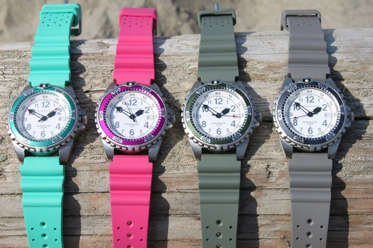 The Momentum Twist with a rubber strap is now available in 4 new shades. In addition to the traditional rainbow of colors already available, you can now pick Aqua, Magenta, Khaki, or Grey! Assembled in Canada, water resistant to 200M.