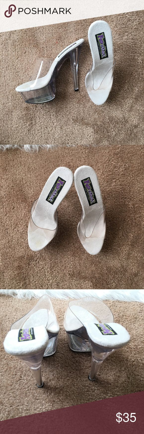 """Funtasma Step into Fun Clear Stripper Heels Clear Spike Platform Mule. 6"""". This Shoe is Narrow. Great Condition. Funtasma Shoes Platforms"""