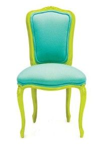 """Chair Couture: Chartreuse & Aqua. Maybe this is what I should do for the """"Elephant Ear"""" chairs?"""