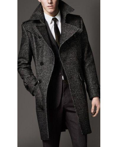 feef1140f5b4 Burberry Wool Tweed Belted Coat in Gray for Men (dark grey melange) | Lyst